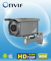 "H.264 Onvif WDR 720P IP IR Bullet Camera 1/3"" CMOS 6mm Lens Array LED 50m IR Metal Housing Outdoor AM-W734"