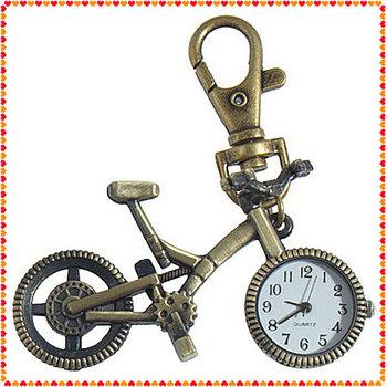 10pcs Fashion vintage Bronze Color Bike keychain Clock Quartz Pocket Pendant Watch Necklace Sweater key Chain Wholesale