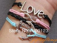 Multilayer Bracelet - Antique silver infinity bracelet, anchor bracelet, braid and cord bracelet - C319