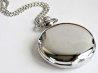A438 Free shipping Classical 4.5cm Size Silver Polish Quartz Pocket Watch