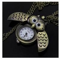 A439 Free shipping Mini Owl Quartz Pocket Watch Necklace