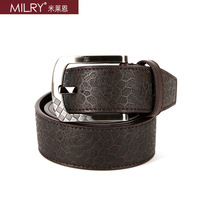 Free Shipping Brand MILRY 100% Genuine leather belt for men waistband with pin buckle coffe CL0004
