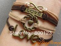 Antique Bronze infinity bracelet, love , Circle , Brown rope bracelet- C330