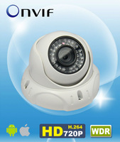 "H.264 Onvif WDR 720P IP Camera IR Fix Dome 1/3"" CMOS 4mm Lens 15m IR metal housing Indoor AM-W754R"