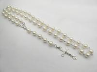 Fashion White Beads Catholic Rosary/Cross/Jesus Necklaces  12pcs/Lot Free Shipping