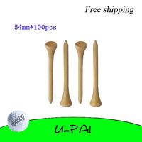 Free Shipping! 100PCS+ 54mm Natural Color Wooden Golf Ball Tees