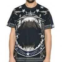 Free Shipping! 2014 Fashion Giv ''Shark Naked'' Men's Short sleeve T-Shirt Round neck Soft Shirts Top Tops