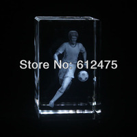 wholesale 5x5x8cm crystal 3D laser engraved image football as souvenir gift crystal paperweight,crystal sports gift