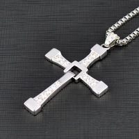 FURIOUS Dominic Toretto's Cross Pendant Necklace Vin Diesel - Silver free shipping