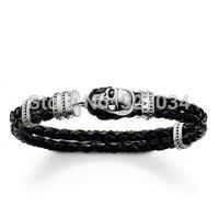Wholesale men gift bracelet leagther bracelets tsb0084 skull bracelet