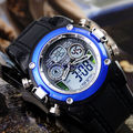 Dual cores digital week alarm clock quartz sport wrist watch for mens