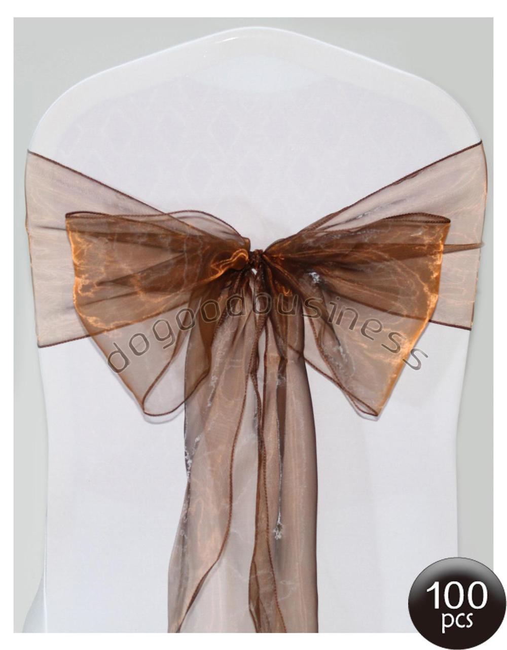Wholesale -100pcs chocolate chair cover sash- organza sash FREE SHIPPING/Size:22*275cm(China (Mainland))