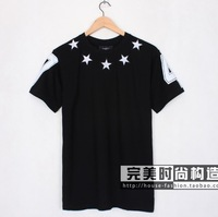 Free Shipping! 2013 New Fashion Embroidery Star Men's Classic Black Short Sleeve T-Shirt Shirts Top Tops Black 3 Color