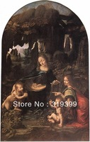 Oil Painting Reproduction,the virgin of the rocks By Leonardo Da Vinci reproduction,Fast Free Shipping, 100% Handmade (LVD010)