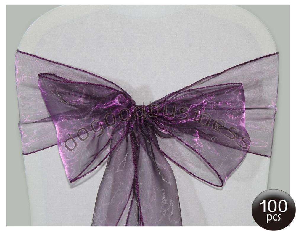 Free Shipping 100pcs Good price Wedding purple Organza Chair Sash, various colors available size:22*275cm(China (Mainland))