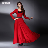 2013 spring full dress slim ultra long section knitted dress long sleeve floor length one-piece dress ultra long maxi dress
