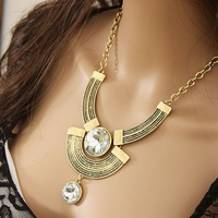 Free Shipping Fashion High Quality Vintage Noble Lady's Large Rhinestone Necklace N649