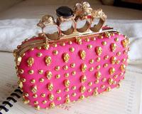 Free shipping!! 2013 hot fashion skull rivet bag clutch bag for women G20459