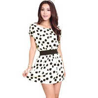 Hot Selling!Chiffon dress ,2013 summer repair flare sleeve polka dot slim short-sleeve female,The Lowest Price