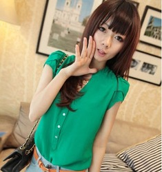Cute Women Imitated Silk Fabric Stand Collar Puff Short Sleeve T Shirt Blouse(China (Mainland))
