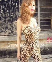 815 sexy leopard print tube top jumpsuit have pad jumpsuit