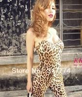 815 sexy leopard print tube top jumpsuit have pad jumpsuit