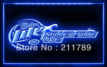 W0809 B Miller Lite Time Live Beer  Neon Light Sign