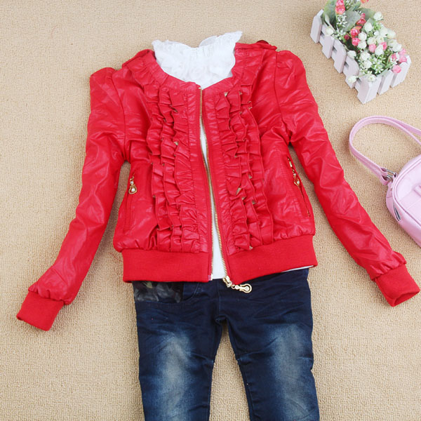 2013 spring female child kid girl ruffle jacket PU leather clothing short jacket 95 - 155cm red and black(China (Mainland))