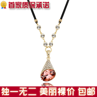 X012 accessories fashion millenum multi-colored crystal drop type short design necklace(China (Mainland))