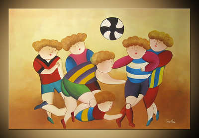 Soccer Team Modern Abstract hand painted oil painting bestbid_mall C777(China (Mainland))