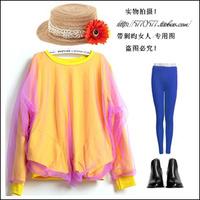 R . suma 2013 fashion gauze patchwork 100% cotton o-neck long-sleeve basic t-shirt sweatshirt