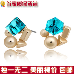 E269 accessories exquisite fashion super shining beautiful abstract Women small earrings(China (Mainland))