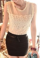 [C433] CHIC WOMENS CREW NECK SLEEVELESS MESH TOP FREE SHIPPING