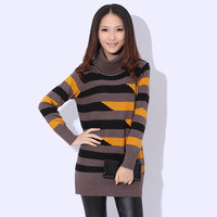 Spring and autumn stripe color block decoration medium-long turtleneck long-sleeve thickening slim hip sweater basic shirt