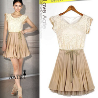 2013 ladies elegant small butterfly sleeve o-neck pleated chiffon lace one-piece dress womens Court style Retro Lace vest dress