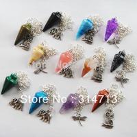 (Min.order 10$ mix) 12pcs/lot Wholesale mixed gemstone Pendulum with tibetan animal semi-precious jewelry pendant bead