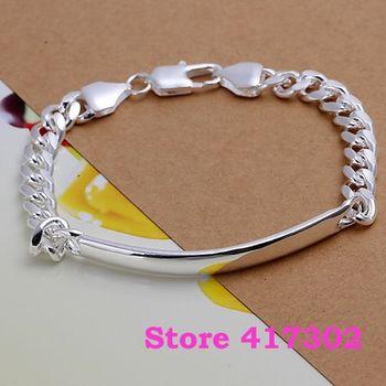 H171 925 Silver bracelet 2013 Fashion Jewelry bracelets 7M leather - shrimp buckle /java rsea