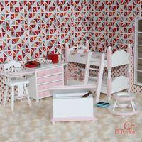 Mini Copy - Doll house mini furniture model pink color child real six pieces set 20005