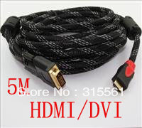 Free Shipping+HDMI TO DVI CABLE 5M 16FT AV 24+1 Male for HDTV PS3(China (Mainland))