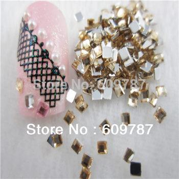 10000pcs/lot Yellow 2mm Flatback Square nail art Rhinestone stone decorations