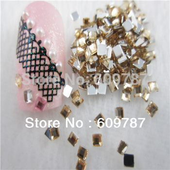 Free Shipping 10000pcs/lot Yellow 2mm Flatback Square nail art Rhinestone stone decorations