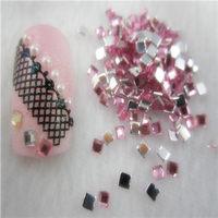 Free Shipping 10000pcs/lot Pink 2mm Flatback Square nail art Rhinestone stone decorations
