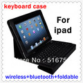 foldable bluetooth 3.0 silicone wireless keyboard with pu leather case For Apple Ipad 1 2 3 DA00049