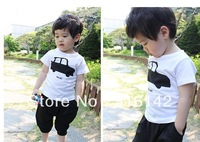 Newest Boy two-piece set (printing T-shirt + pants) high quality clothing