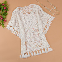 Autumn and winter new arrival medium-long cutout sweater Women batwing type loose sweater 9505