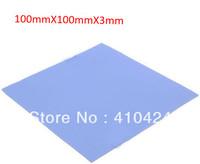 100mm*100mm*3mm Blue Thermal Pad GPU CPU Heatsink Cooling Conductive Silicone, free shipping !