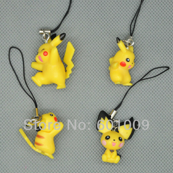 Free Shipping Cute 8PCS Cute Pokemon Pikachu Mini Figure Strap for Cell Phone iPod MP3 New Wholesale And Retail(China (Mainland))
