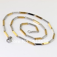 20g ,fashion  jewelry gold&silver Stainless Steel boy&men's 2.5mm rectangular stick link necelace,19.6'' ,XL 105 ,free shipping