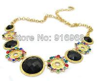 free shipping mix color 10pcs/lot water drop woman necklace resin stone flower chain jewelry fashion necklace