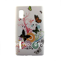 Free Shipping, Flower Skin Soft Silicone Case Cover For LG L5 E615 E612 10 pcs/lot